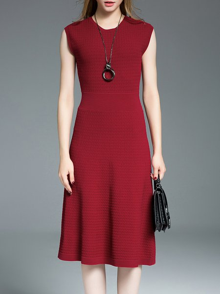 Red Sleeveless Plain Midi Dress