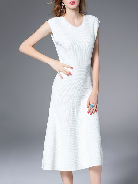 White Ribbed Sleeveless Knitted Sweater Dress