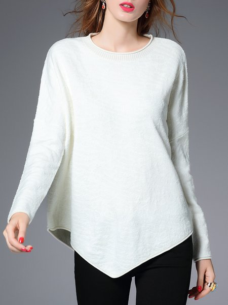 White Knitted Long Sleeve Asymmetrical Sweater
