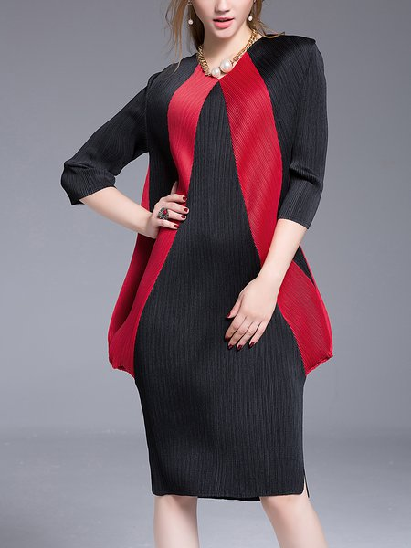 Black 3/4 Sleeve Ribbed Midi Dress
