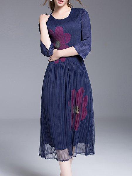 Blue Pleated Polyester 3/4 Sleeve Midi Dress