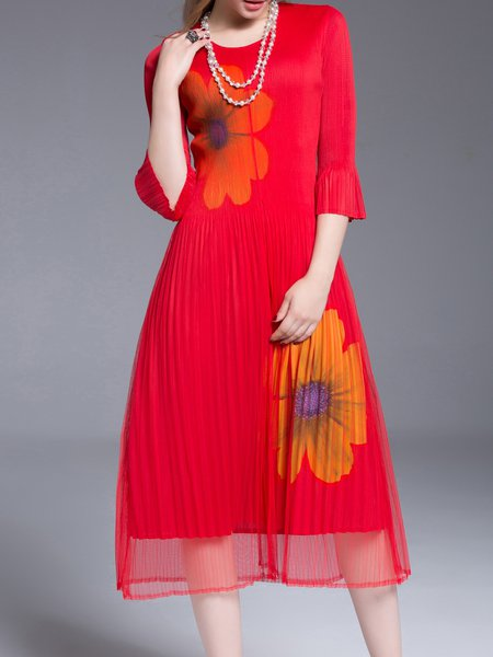 Red Elegant Crew Neck Pleated Midi Dress