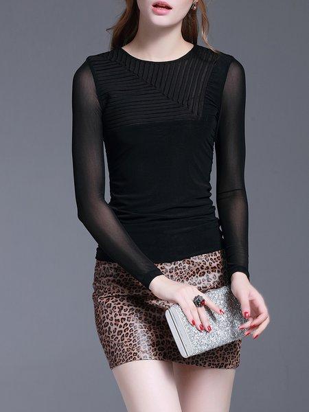 Black Paneled Casual Long Sleeved Top