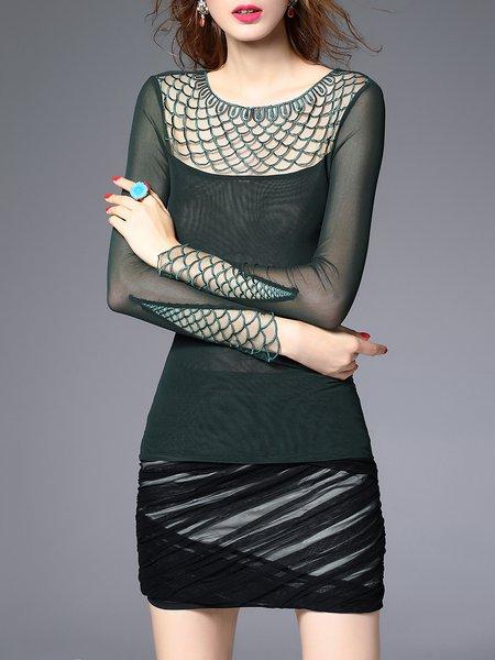Dark Green Plain Paneled Long Sleeved Top