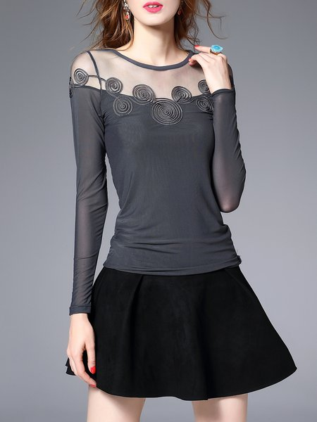 Gray Sheath Casual Stretchy Long Sleeved Top