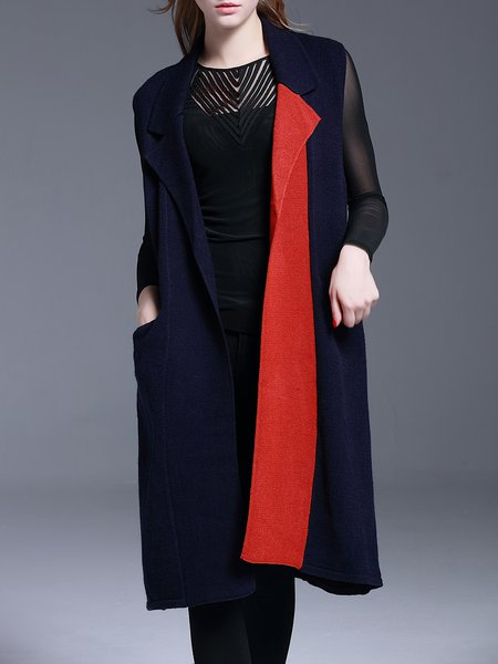 Dark Blue H-line Lapel Sleeveless Knitted Cardigan