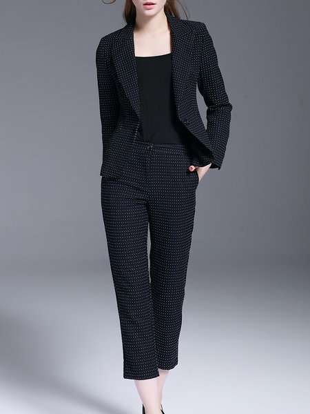 Dark Blue Polka Dots Long Sleeve Two Piece Suits