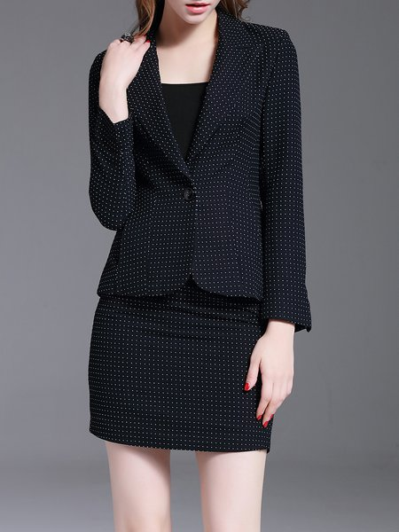 Dark Blue Two Piece Polka Dots Long Sleeve Suits