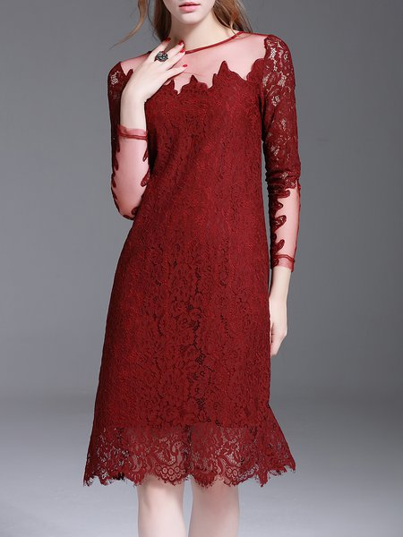 Long Sleeve Crocheted Elegant Crew Neck Midi Dress