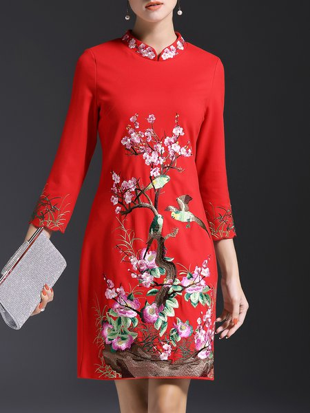 3/4 Sleeve Embroidered Elegant Midi Dress