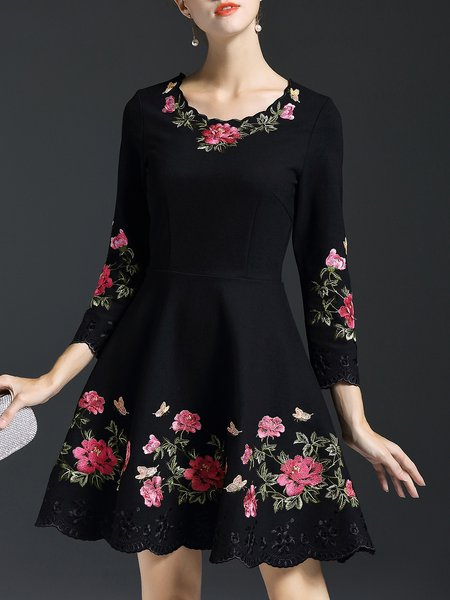 Embroidered 3/4 Sleeve Casual A-line Mini Dress