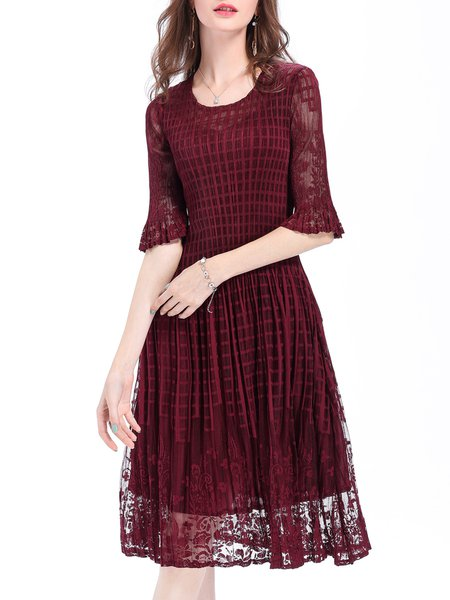 Casual Solid Half Sleeve Crochet Pleated A-line Midi Dress