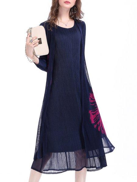 3/4 Sleeve Pleated A-line Midi Dress