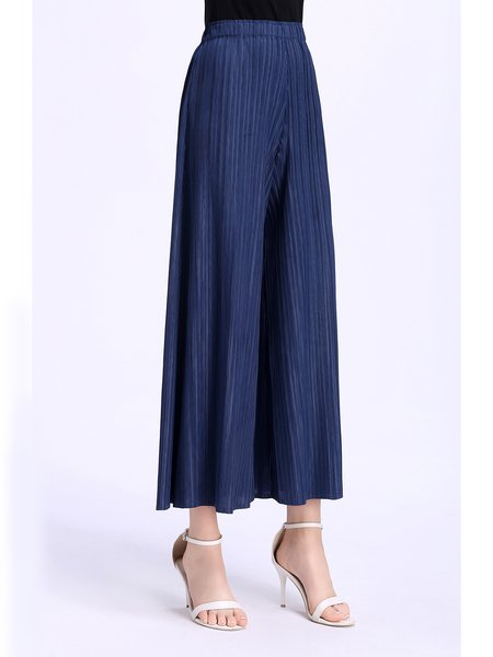 Casual Ribbed Wide Leg Pants