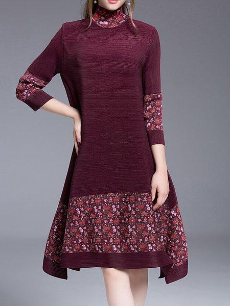 Casual Asymmetric A-line 3/4 Sleeve Midi Dress