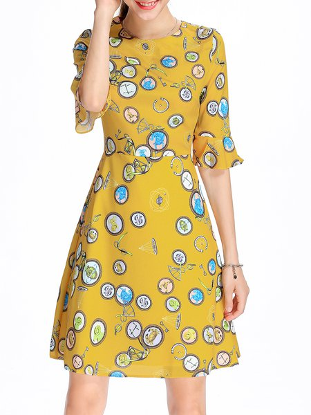 Crew Neck A-line Frill Sleeve Printed Midi Dress