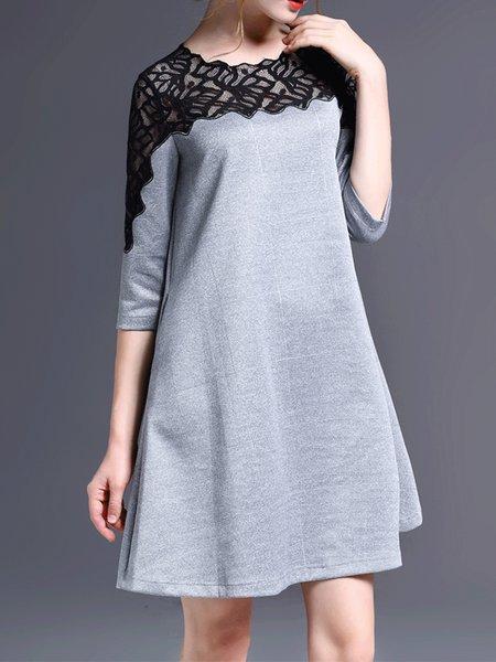 3/4 Sleeve Outdoor Wool Blend Mini Dress
