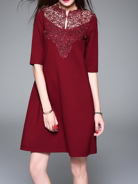 Wine Red Appliqued Half Sleeve H-line Midi Dress