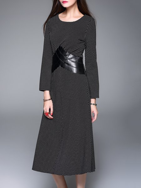Black Paneled Polka Dots Long Sleeve Slit Midi Dress