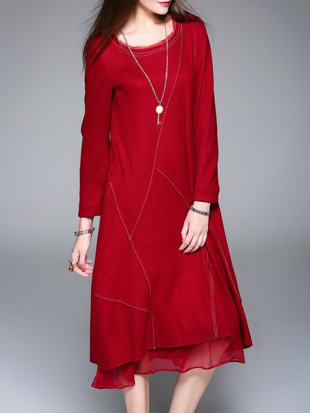 Red Wool Casual H-line Knitted Midi Dress