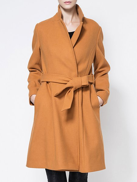 Elegant Lapel Cocoon Long Sleeve Wool Coat