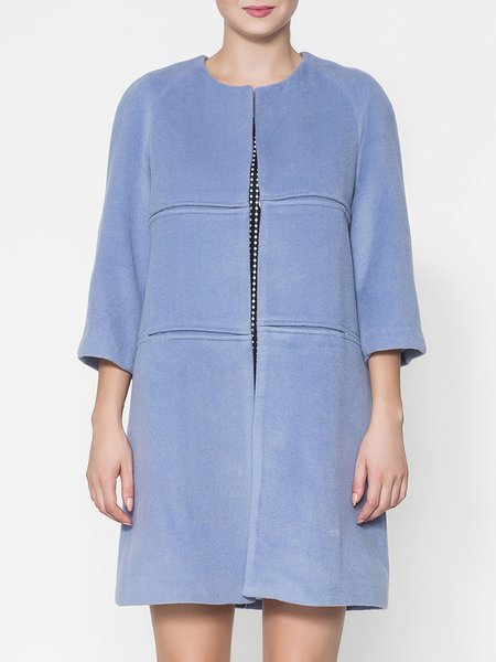 Blue Elegant Pockets Crew Neck Wool Coat