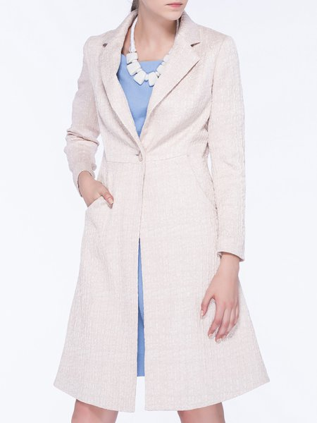 Champagne Shift Long Sleeve Lapel Coat