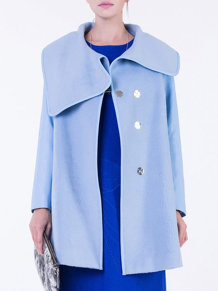 Light Blue Wool Long Sleeve Buttoned Coat