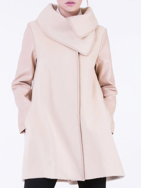 Apricot Buttoned Shift Long Sleeve Coat