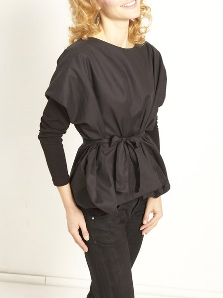 Casual Paneled Long Sleeve H-line Cotton Long Sleeved Top