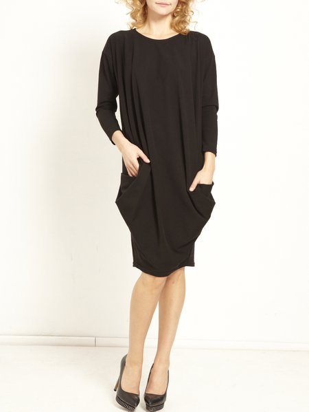 Black Shift Solid Color Jersy Cotton-blend Long Sleeve Knee Length Dress