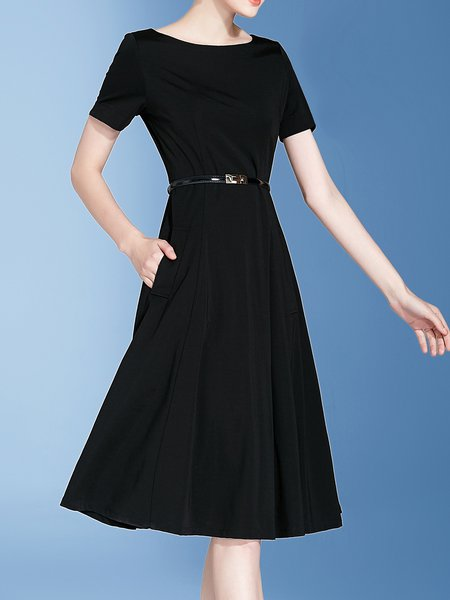 Polyester Simple Short Sleeve boat Neck Midi Dress