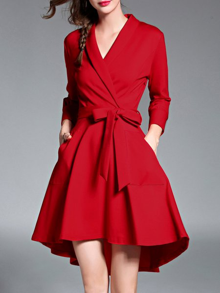 Red Elegant Solid High Low Wrap Dress with Belt
