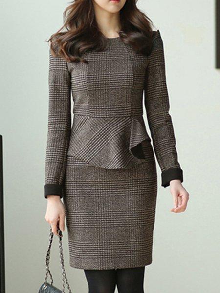 Coffee Sheath Long Sleeve Slit Midi Dress