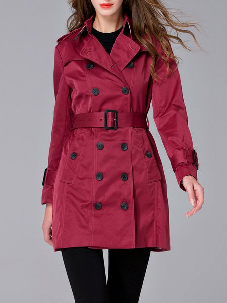 Wine Red Long Sleeve Lapel Trench Coat with Belt
