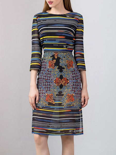 Multicolor Vintage Floral Sheath Crew Neck Midi Dress