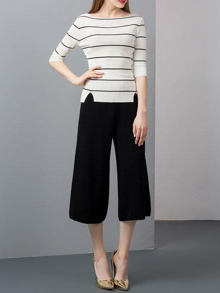 White Stripes Two Piece 3/4 Sleeve Slash Neck Jumpsuit