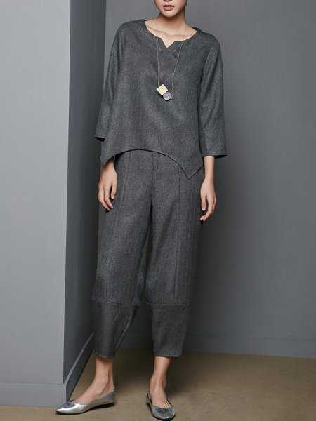 Asymmetric Two Piece 3/4 Sleeve Casual Jumpsuit