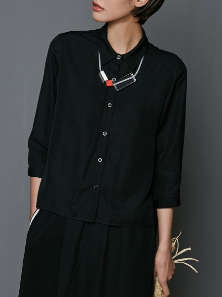 Long Sleeve Ruffled Casual Shirt Collar Solid Blouse