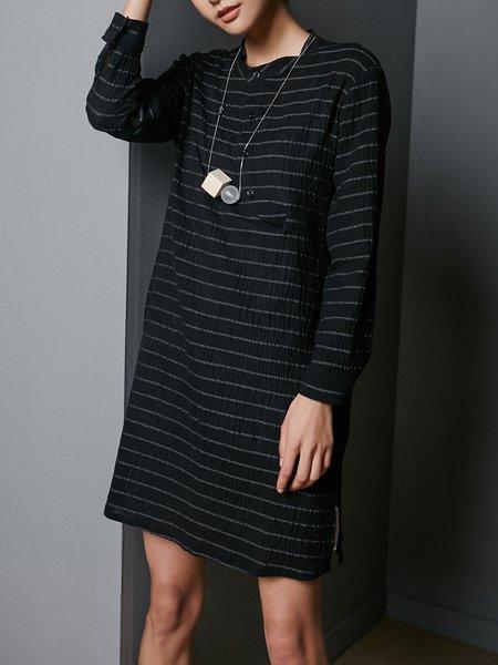 Black H-line Stripes Short Sleeve Mini Dress