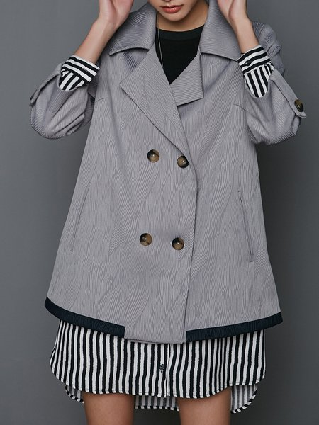 A-line Solid Ribbed Casual 3/4 Sleeve Coat
