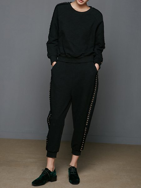 Black Two Piece Grommet Crew Neck Casual Cotton-blend Jumpsuit