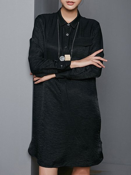 Asymmetrical Buttoned Shirt Collar Simple Long Sleeve Midi Dress