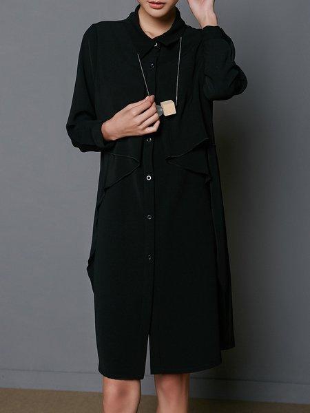 Ruffled Shirt Collar Simple Long Sleeve Midi Dress