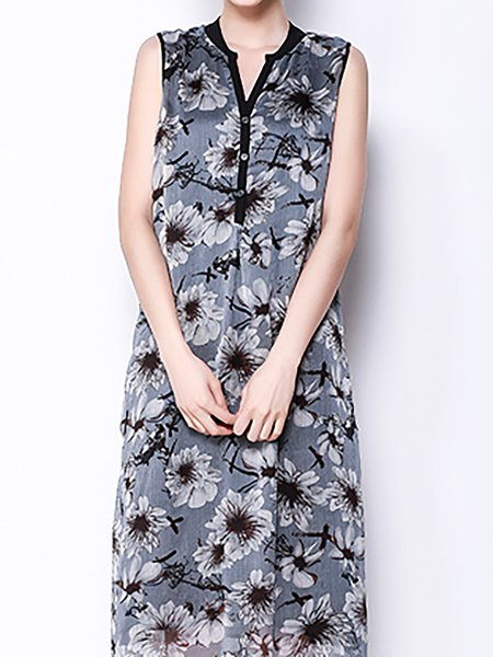 Floral Sleeveless Elegant Midi Dress