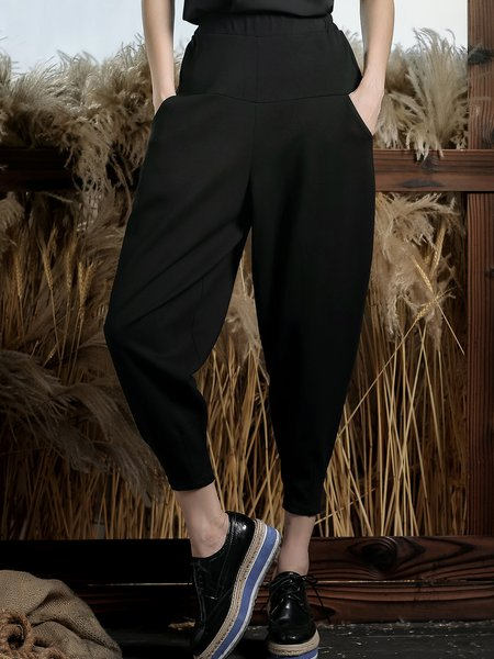 Black Casual Cotton-blend Solid Track Pants
