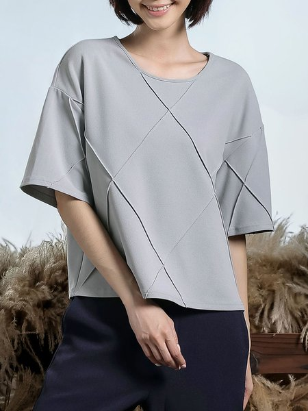 Half Sleeve Casual Crew Neck Piping Plain Top