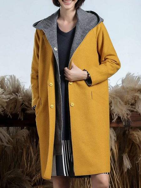 Color-block Casual Hoodie Wool blend Long Sleeve Coat