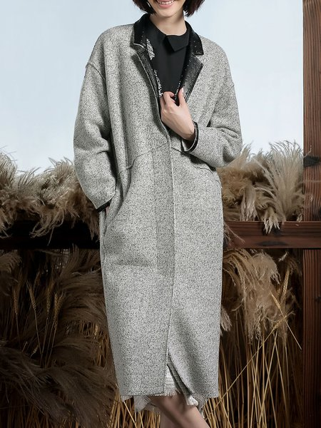 Gray Wool Blend Paneled Lapel Long Sleeve Coat