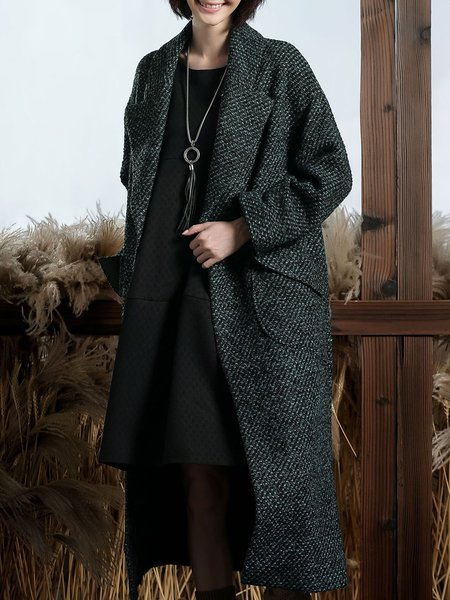 Dark Green Tweed Lapel Elegant Pockets Coat